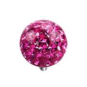 Dermal Anchor Kristall Kugel pink mit Epoxy Schutzschicht