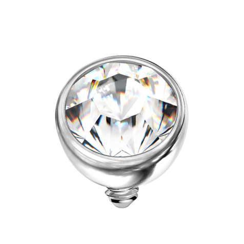 Dermal Anchor Halbkugel silber mit Kristall silber