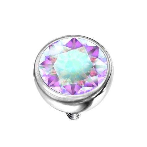 Dermal Anchor Halbkugel silber mit Kristall multicolor