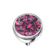 Dermal Anchor Halbkugel silber mit Kristall pink