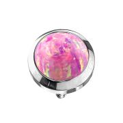 Dermal Anchor silber mit Opal pink