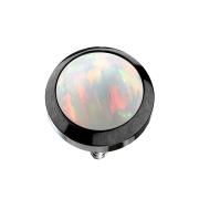 Dermal Anchor schwarz mit Opal weiss