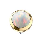 Dermal Anchor vergoldet mit Opal weiss