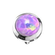 Dermal Anchor silber mit Opal violett