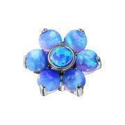 Dermal Anchor Blume Opal blau