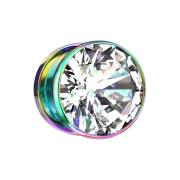 Flesh Plug farbig mit grossem Kristall silber