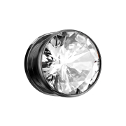 Flesh Plug schwarz mit grossem Kristall silber
