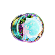 Flesh Plug farbig mit grossem Kristall multicolor