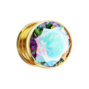 Flesh Plug vergoldet mit grossem Kristall multicolor
