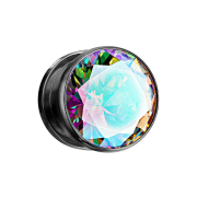 Flesh Plug schwarz mit grossem Kristall multicolor