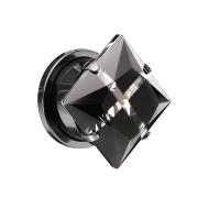 Flesh Plug schwarz mit grossem Kristall und Kreuz