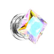 Flesh Plug silber mit quadrat Kristall multicolor