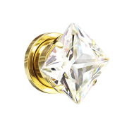 Flesh Plug vergoldet mit quadrat Kristall silber