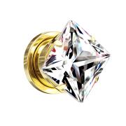 Flesh Plug vergoldet mit quadrat Kristall multicolor