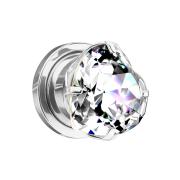 Flesh Plug silber mit Herz Kristall silber