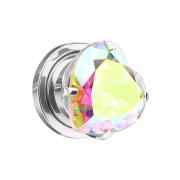 Flesh Plug silber mit Herz Kristall multicolor