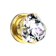 Flesh Plug vergoldet mit Herz Kristall silber