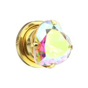 Flesh Plug vergoldet mit Herz Kristall multicolor