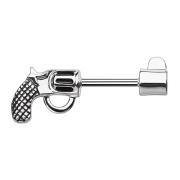 Brustwarzenpiercing Stab Revolver silber