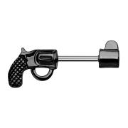 Brustwarzenpiercing Stab Revolver schwarz