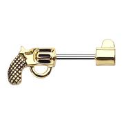 Brustwarzenpiercing Stab Revolver vergoldet