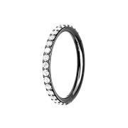 Micro Segmentring schwarz klappbar seitlich Kristalle silber