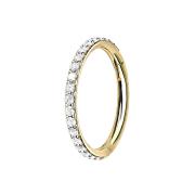 Micro Segmentring vergoldet klappbar seitlich Kristalle silber