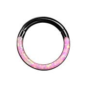 Micro Segmentring klappbar schwarz front Opal streifen pink