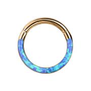 Micro Segmentring rosegold klappbar front Opal streifen blau