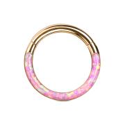 Micro Segmentring klappbar rosegold front Opal streifen pink