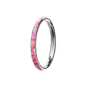 Segmentring klappbar silber seitlich Opal streifen pink