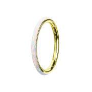 Micro Segmentring vergoldet klappbar seitlich Opal streifen weiss
