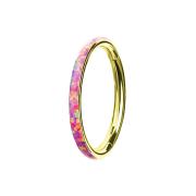 Micro Segmentring klappbar vergoldet seitlich Opal...