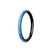 Micro Segmentring schwarz klappbar seitlich Opal streifen blau