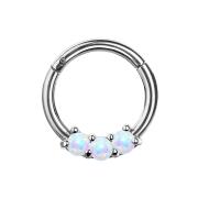Micro Segmentring silber klappbar drei Opal Kugeln weiss