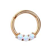 Micro Segmentring rosegold klappbar drei Opal Kugeln weiss