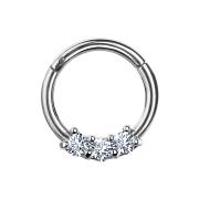 Micro Segmentring silber klappbar drei Kristallen silber