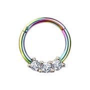 Micro Segmentring farbig klappbar drei Kristallen silber