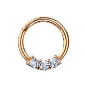 Micro Segmentring rosegold klappbar drei Kristallen silber