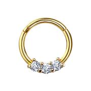 Micro Segmentring vergoldet klappbar drei Kristallen silber
