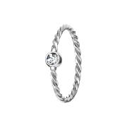 Micro Piercing Ring geflochten silber mit Kristall silber