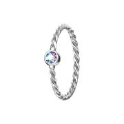 Micro Piercing Ring geflochten silber mit Kristall multicolor