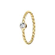 Micro Piercing Ring geflochten vergoldet mit Kristall silber