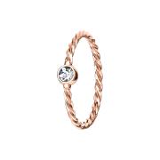 Micro Piercing Ring geflochten rosegold mit Kristall silber