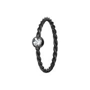 Micro Piercing Ring geflochten schwarz mit Kristall silber