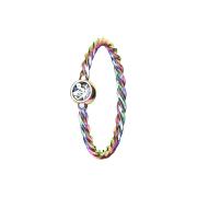 Micro Piercing Ring geflochten farbig mit Kristall silber
