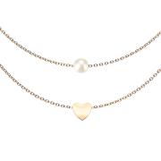 Kette rosegold Anhänger Perle und Herz
