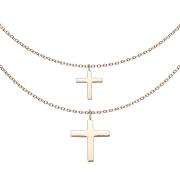 Kette rosegold Anhänger doppel Kreuz