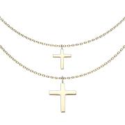 Kette vergoldet Anhänger doppel Kreuz