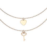 Kette rosegold Anhänger Herz und Schlüssel